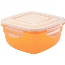Контейнер для пищевых  продуктов с крышкой; полипропилен ; 0, 6л; прозрачный , оранжевый