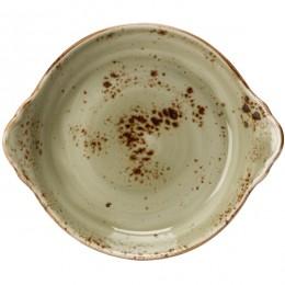 Блюдо для запекания  «Крафт»; фарфор; D=185, H=45мм; зеленый